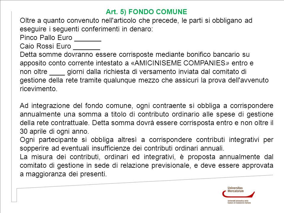 Art. 5) FONDO COMUNE Oltre a quanto convenuto nell'articolo che precede, le parti si obbligano ad eseguire i seguenti conferimenti in denaro: Pinco Pa