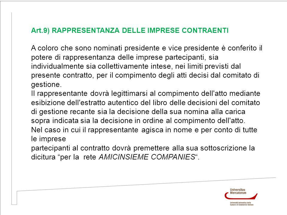 Art.9) RAPPRESENTANZA DELLE IMPRESE CONTRAENTI A coloro che sono nominati presidente e vice presidente è conferito il potere di rappresentanza delle i