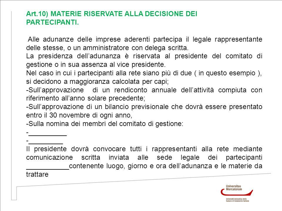 Art.10) MATERIE RISERVATE ALLA DECISIONE DEI PARTECIPANTI. Alle adunanze delle imprese aderenti partecipa il legale rappresentante delle stesse, o un