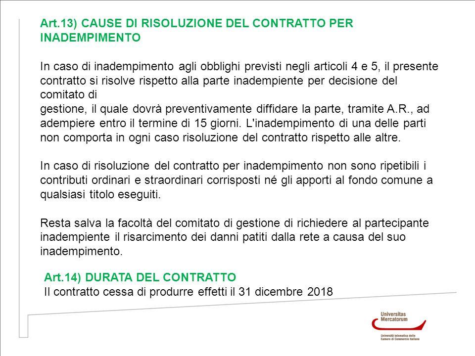 Art.13) CAUSE DI RISOLUZIONE DEL CONTRATTO PER INADEMPIMENTO In caso di inadempimento agli obblighi previsti negli articoli 4 e 5, il presente contrat