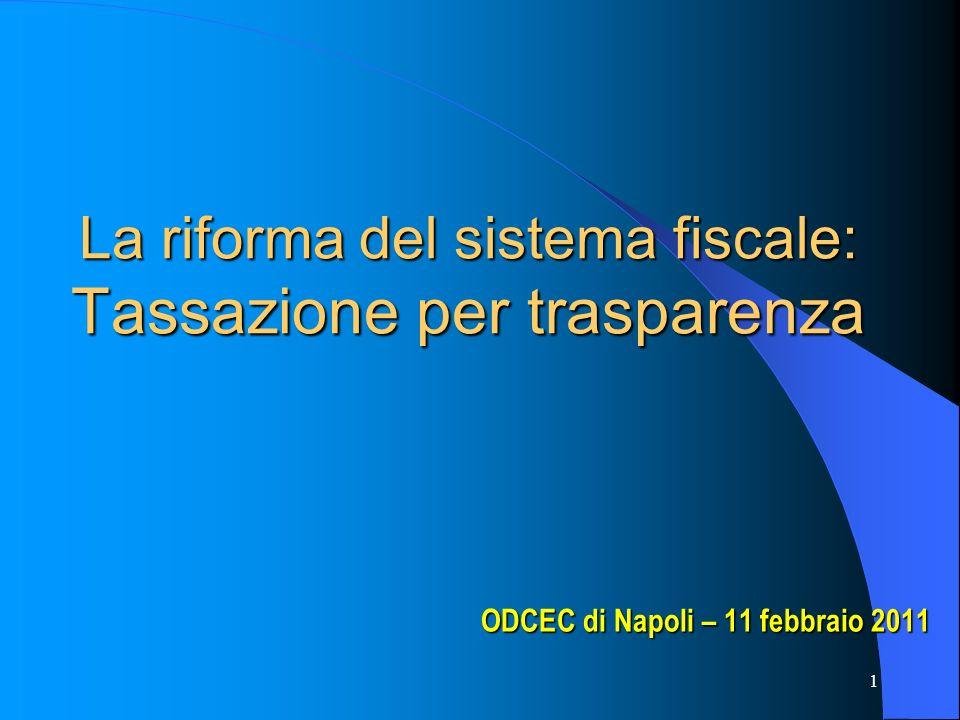 1 La riforma del sistema fiscale: Tassazione per trasparenza ODCEC di Napoli – 11 febbraio 2011 ODCEC di Napoli – 11 febbraio 2011