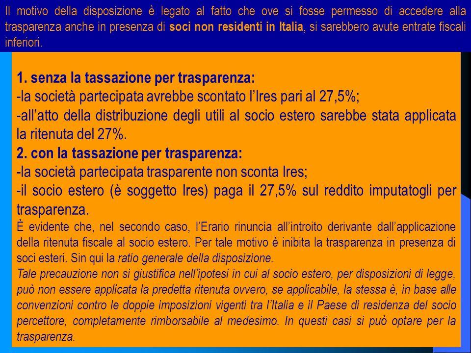 12 1. senza la tassazione per trasparenza: -la società partecipata avrebbe scontato lIres pari al 27,5%; -allatto della distribuzione degli utili al s