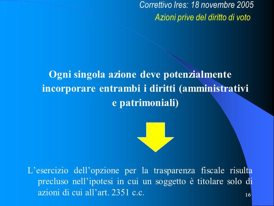 16 Ogni singola azione deve potenzialmente incorporare entrambi i diritti (amministrativi e patrimoniali) Lesercizio dellopzione per la trasparenza fi