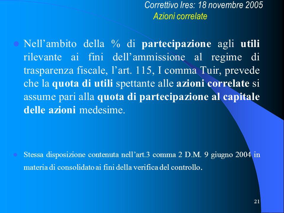 21 Nellambito della % di partecipazione agli utili rilevante ai fini dellammissione al regime di trasparenza fiscale, lart. 115, I comma Tuir, prevede