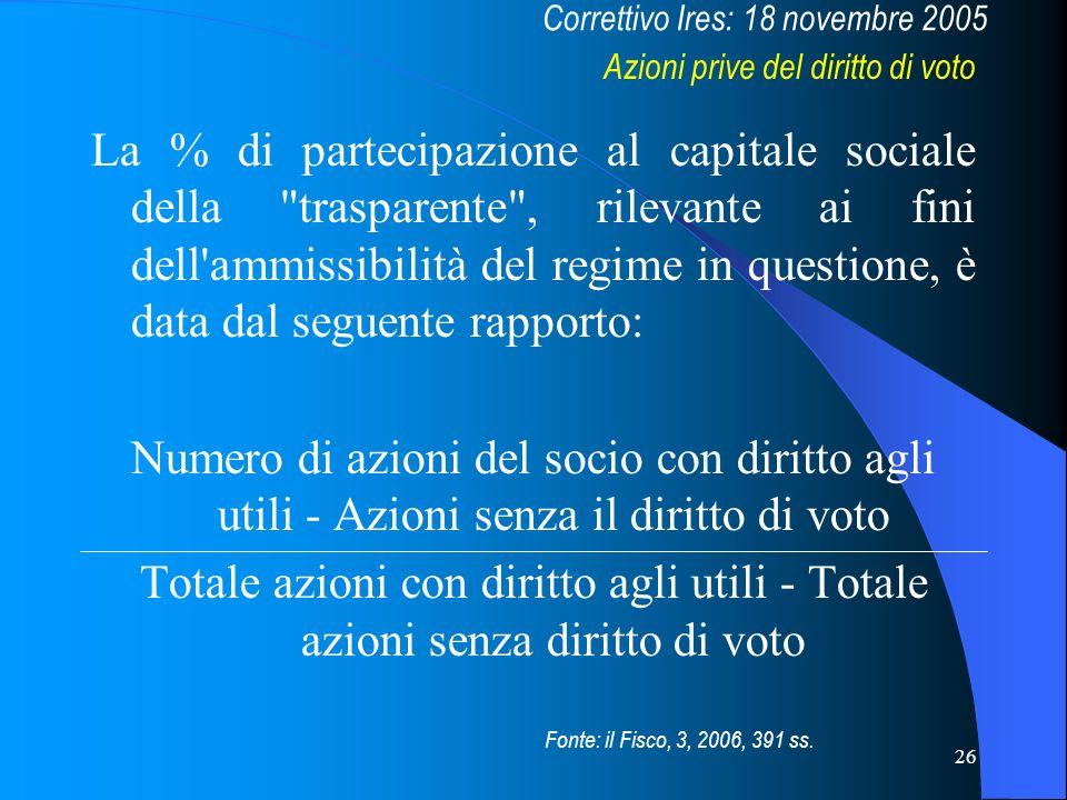 26 La % di partecipazione al capitale sociale della