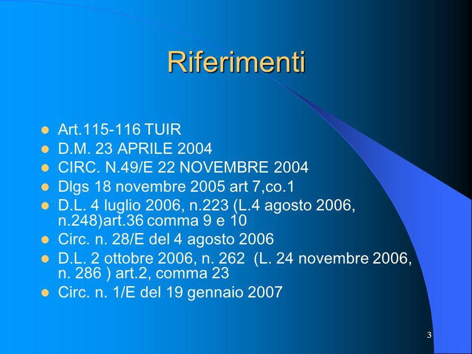 3 Riferimenti Art.115-116 TUIR D.M. 23 APRILE 2004 CIRC. N.49/E 22 NOVEMBRE 2004 Dlgs 18 novembre 2005 art 7,co.1 D.L. 4 luglio 2006, n.223 (L.4 agost