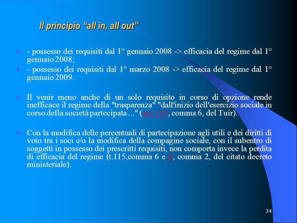 34 - possesso dei requisiti dal 1° gennaio 2008 -> efficacia del regime dal 1° gennaio 2008; - possesso dei requisiti dal 1° marzo 2008 -> efficacia d