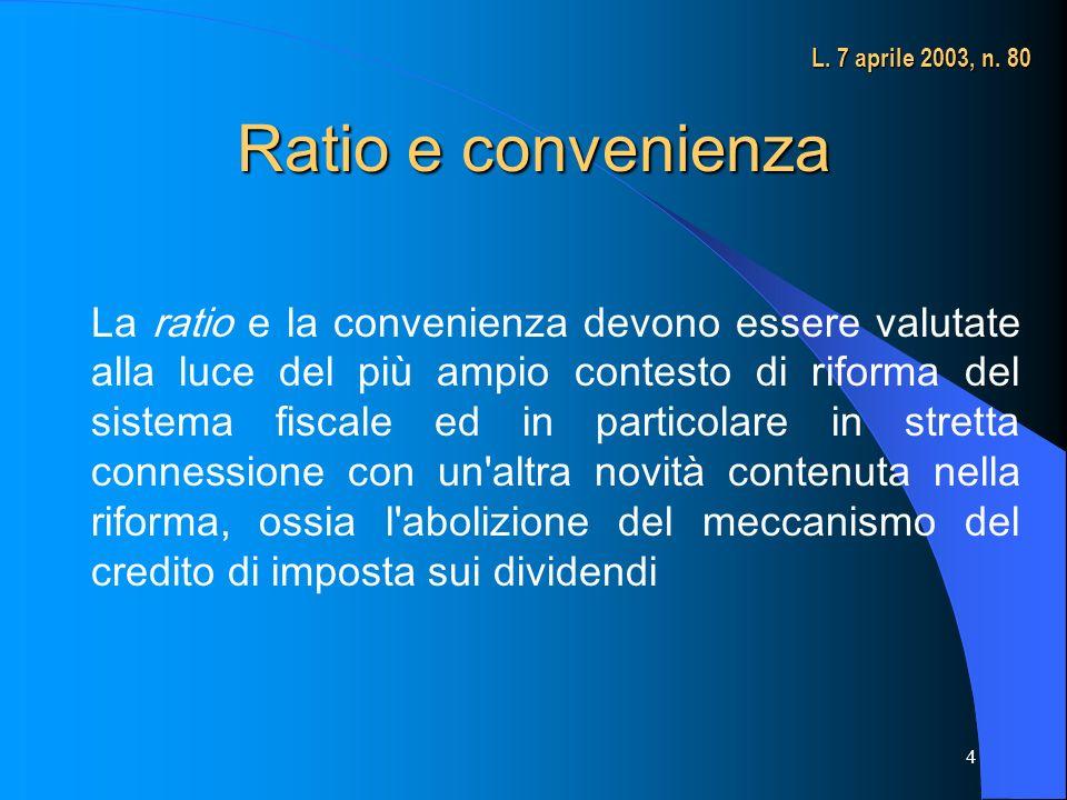 4 Ratio e convenienza La ratio e la convenienza devono essere valutate alla luce del più ampio contesto di riforma del sistema fiscale ed in particolare in stretta connessione con un altra novità contenuta nella riforma, ossia l abolizione del meccanismo del credito di imposta sui dividendi L.