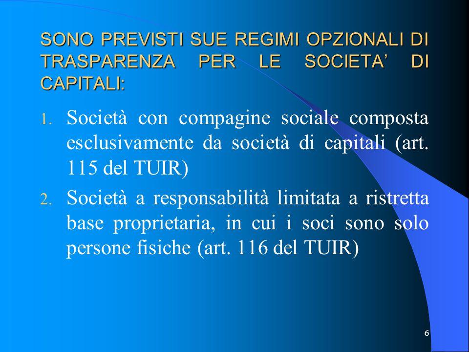 SONO PREVISTI SUE REGIMI OPZIONALI DI TRASPARENZA PER LE SOCIETA DI CAPITALI: 1. Società con compagine sociale composta esclusivamente da società di c
