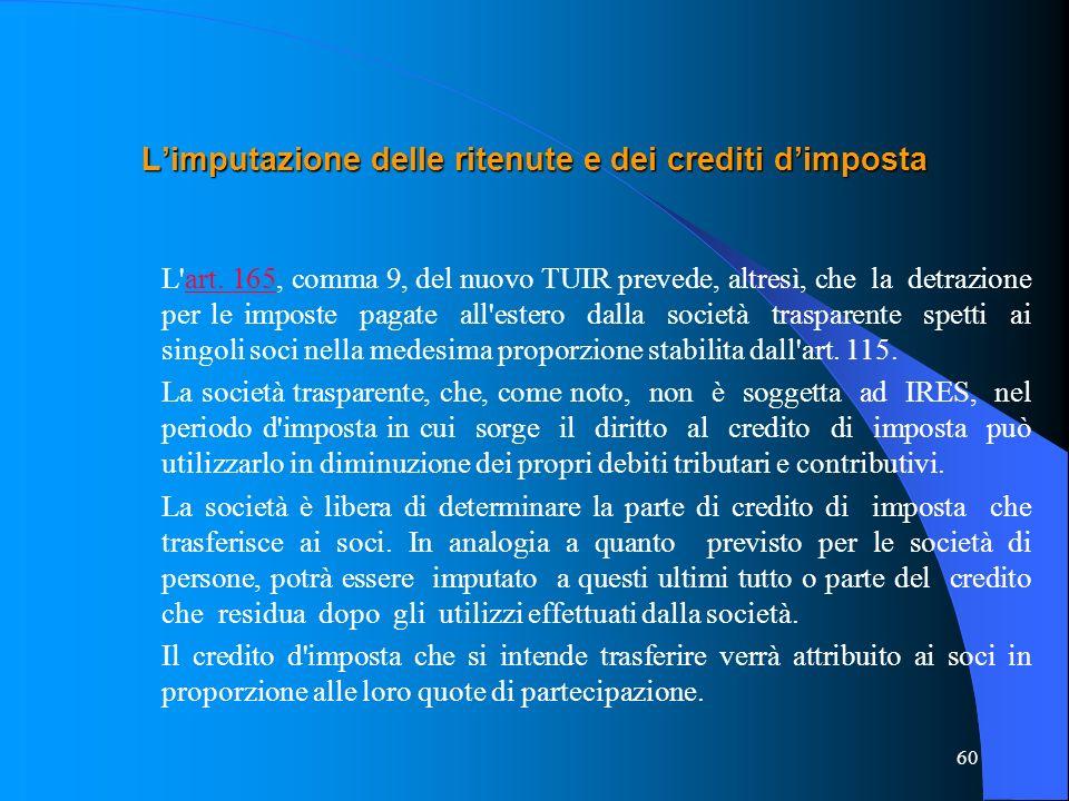 60 Limputazione delle ritenute e dei crediti dimposta L'art. 165, comma 9, del nuovo TUIR prevede, altresì, che la detrazione per le imposte pagate al