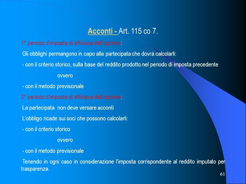 61 Acconti - Art.115 co 7.