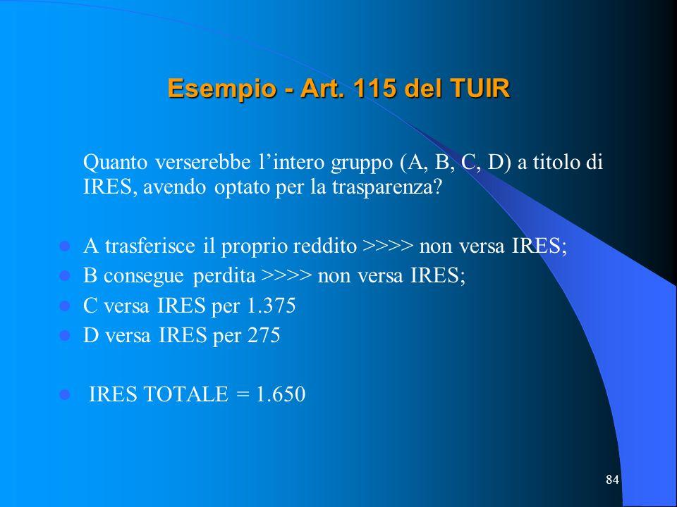 84 Quanto verserebbe lintero gruppo (A, B, C, D) a titolo di IRES, avendo optato per la trasparenza? A trasferisce il proprio reddito >>>> non versa I