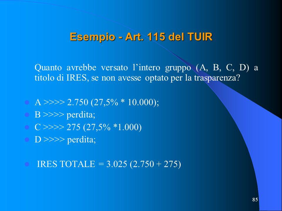 85 Quanto avrebbe versato lintero gruppo (A, B, C, D) a titolo di IRES, se non avesse optato per la trasparenza? A >>>> 2.750 (27,5% * 10.000); B >>>>