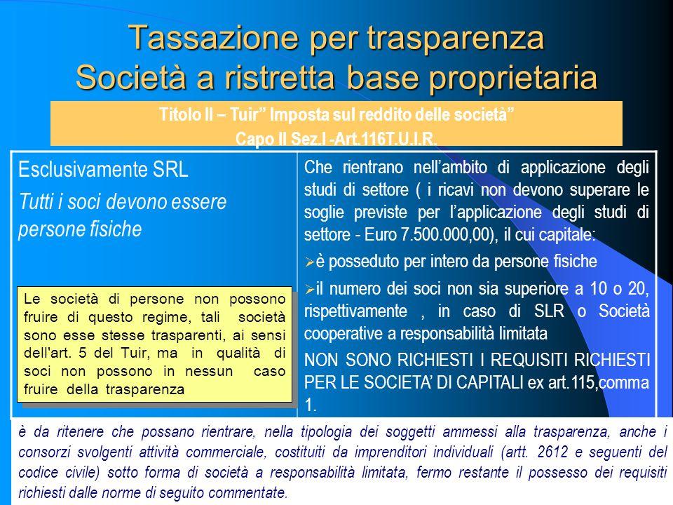 86 Tassazione per trasparenza Società a ristretta base proprietaria Titolo II – Tuir Imposta sul reddito delle società Capo II Sez.I -Art.116T.U.I.R.