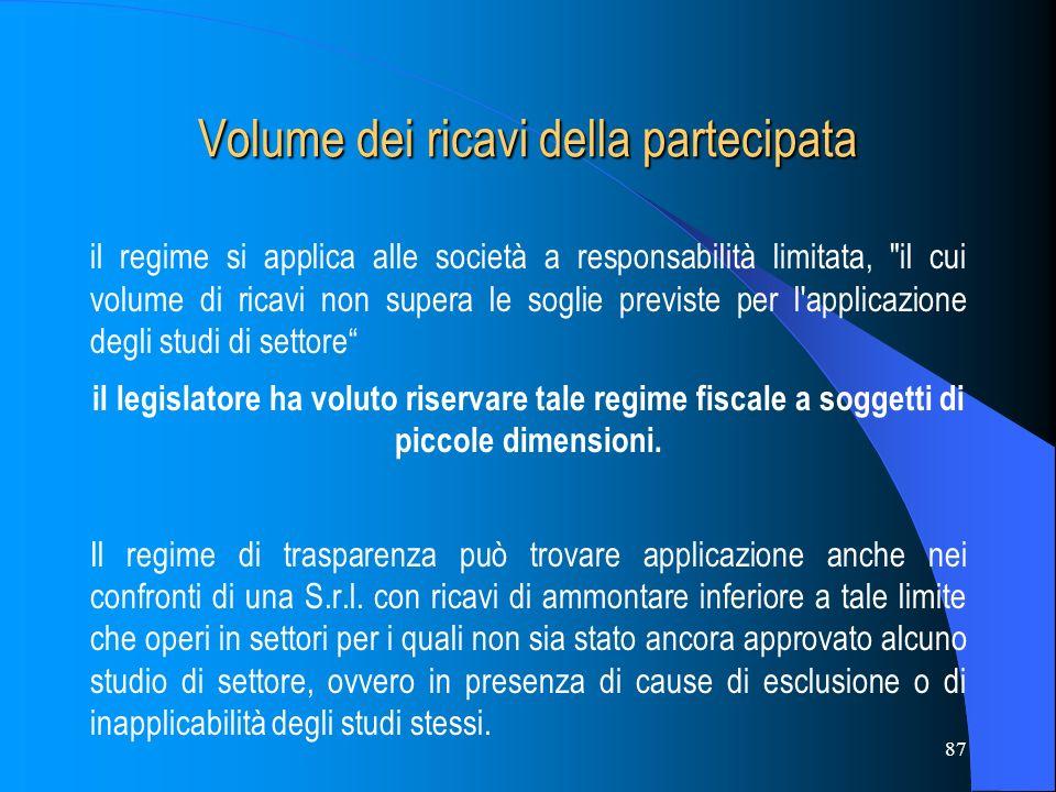 87 Volume dei ricavi della partecipata il regime si applica alle società a responsabilità limitata,