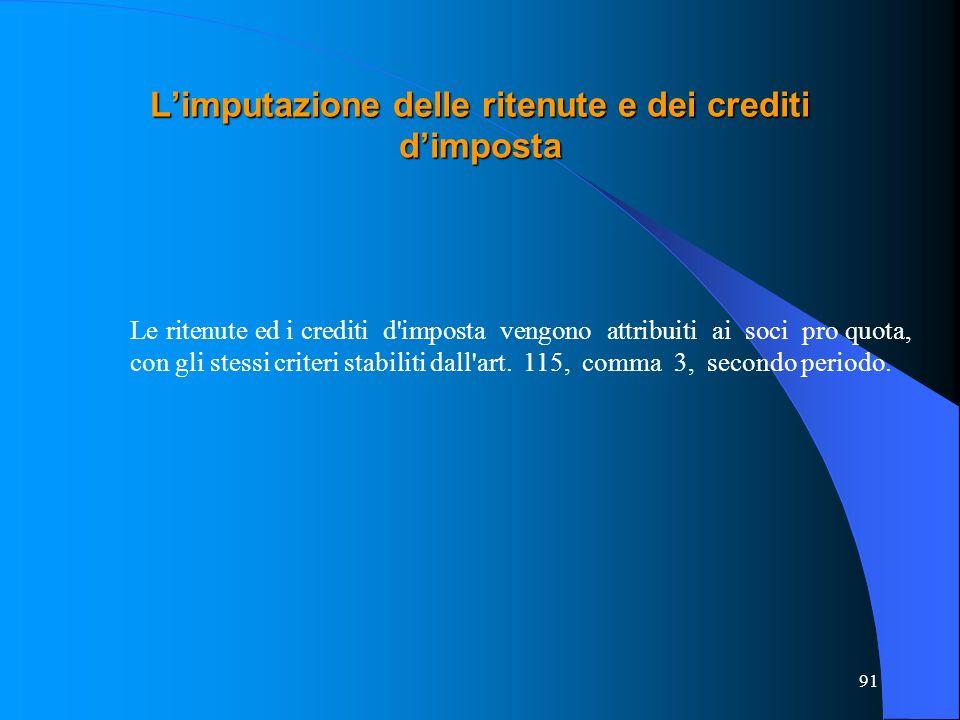 91 Limputazione delle ritenute e dei crediti dimposta Le ritenute ed i crediti d imposta vengono attribuiti ai soci pro quota, con gli stessi criteri stabiliti dall art.