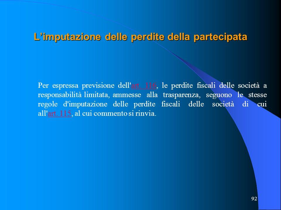92 Limputazione delle perdite della partecipata Per espressa previsione dell'art. 116, le perdite fiscali delle società a responsabilità limitata, amm