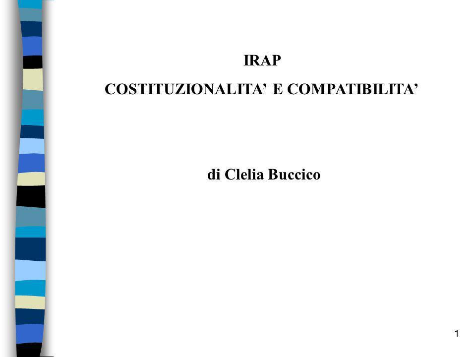 1 IRAP COSTITUZIONALITA E COMPATIBILITA di Clelia Buccico