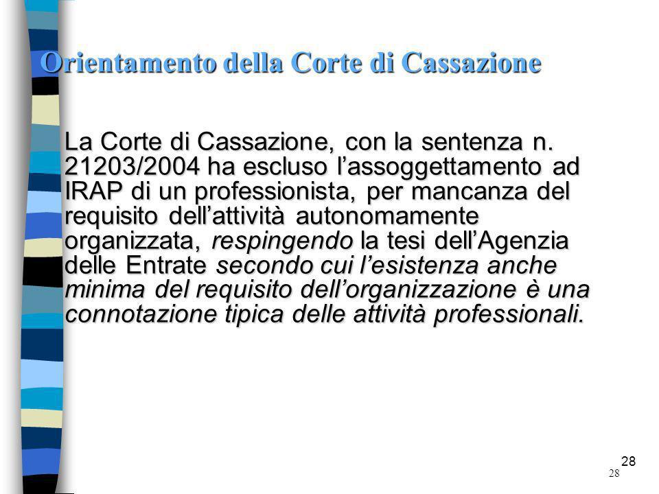 28 Orientamento della Corte di Cassazione La Corte di Cassazione, con la sentenza n.