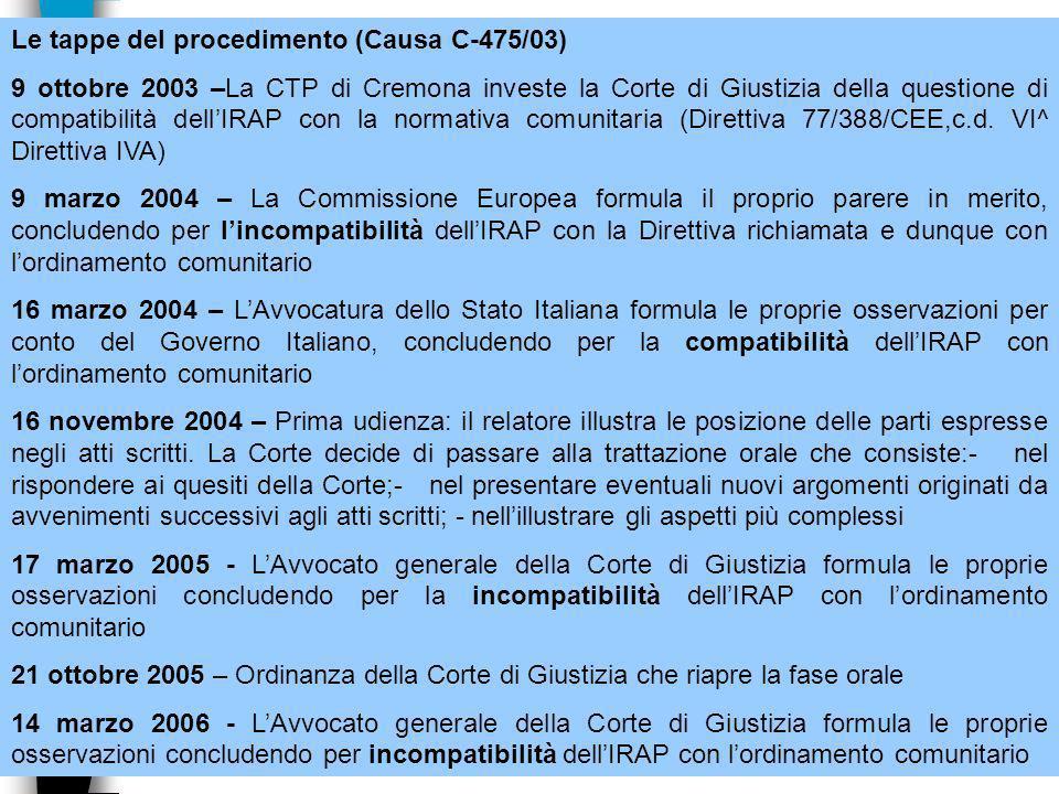 37 Le tappe del procedimento (Causa C-475/03) 9 ottobre 2003 –La CTP di Cremona investe la Corte di Giustizia della questione di compatibilità dellIRAP con la normativa comunitaria (Direttiva 77/388/CEE,c.d.