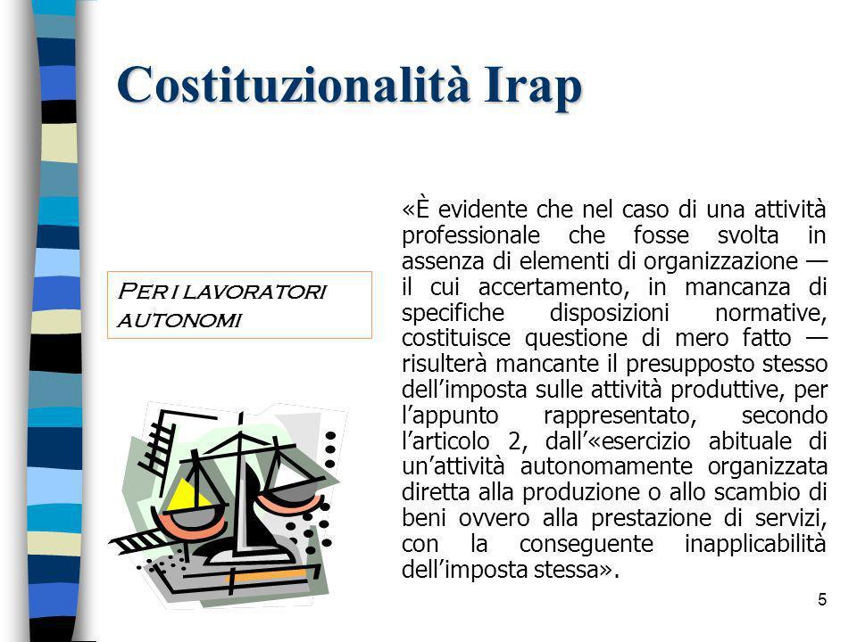 56 Compatibilita comunitaria La Corte di Giustizia Europea con sentenza del 3 ottobre 2006, causa C-475/03, ha dichiarato compatibile lIRAP con il diritto comunitario.