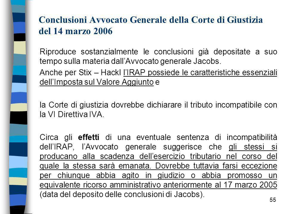 55 Conclusioni Avvocato Generale della Corte di Giustizia del 14 marzo 2006 Riproduce sostanzialmente le conclusioni già depositate a suo tempo sulla materia dallAvvocato generale Jacobs.
