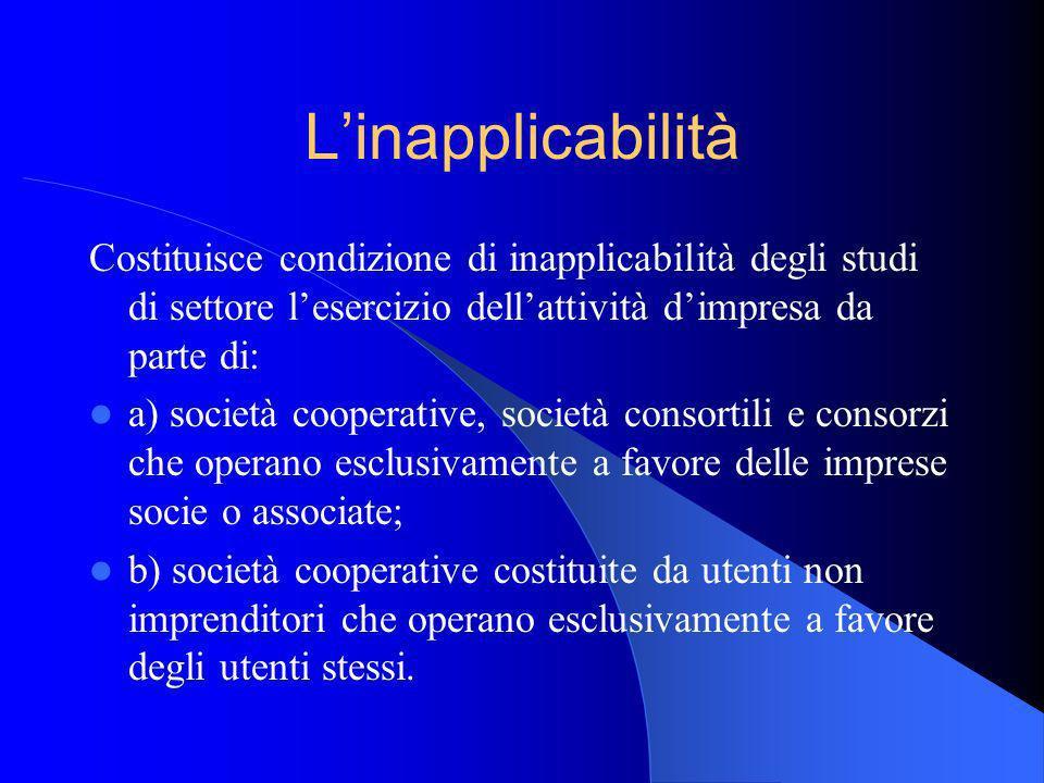 Linapplicabilità Costituisce condizione di inapplicabilità degli studi di settore lesercizio dellattività dimpresa da parte di: a) società cooperative