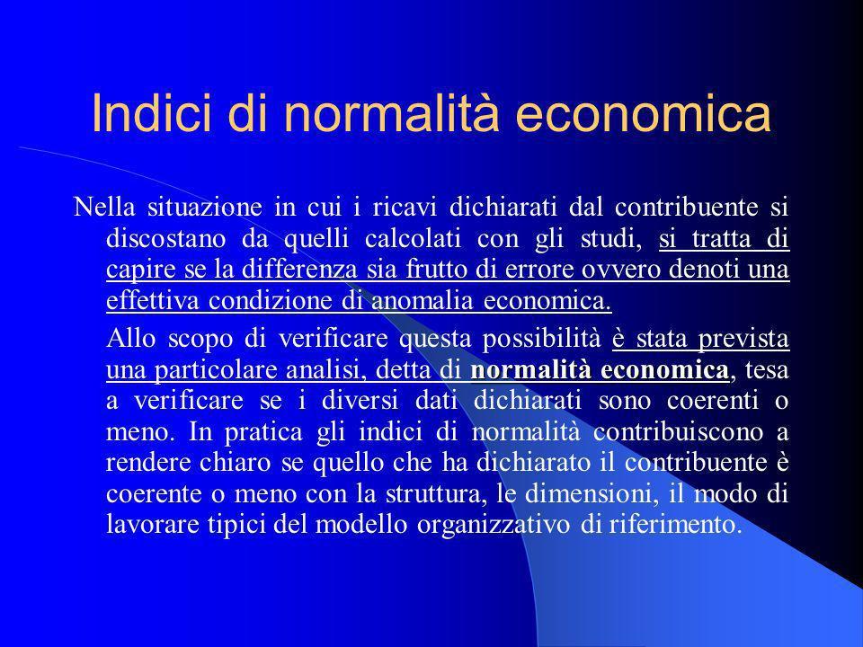 Indici di normalità economica Nella situazione in cui i ricavi dichiarati dal contribuente si discostano da quelli calcolati con gli studi, si tratta