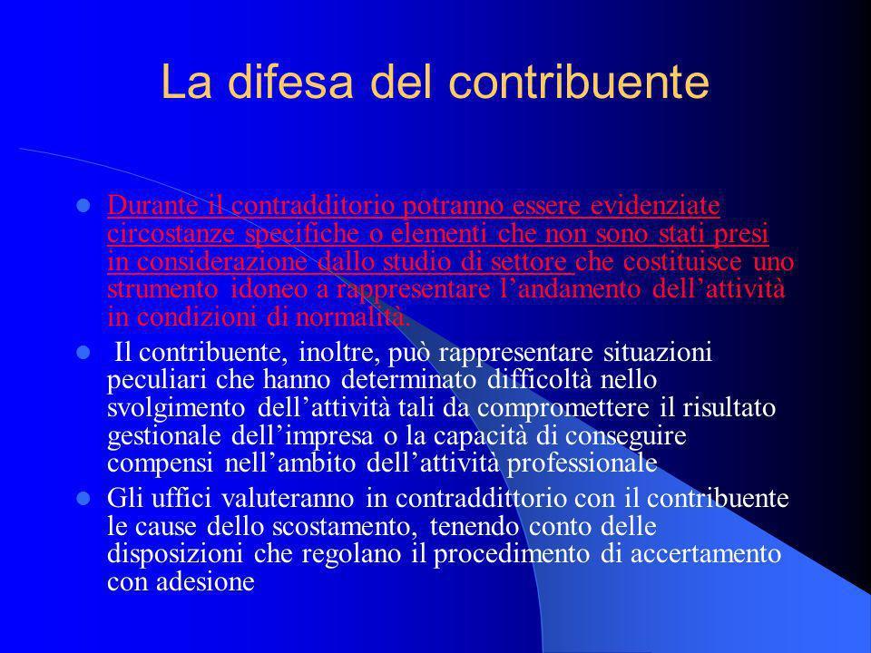 Durante il contradditorio potranno essere evidenziate circostanze specifiche o elementi che non sono stati presi in considerazione dallo studio di set