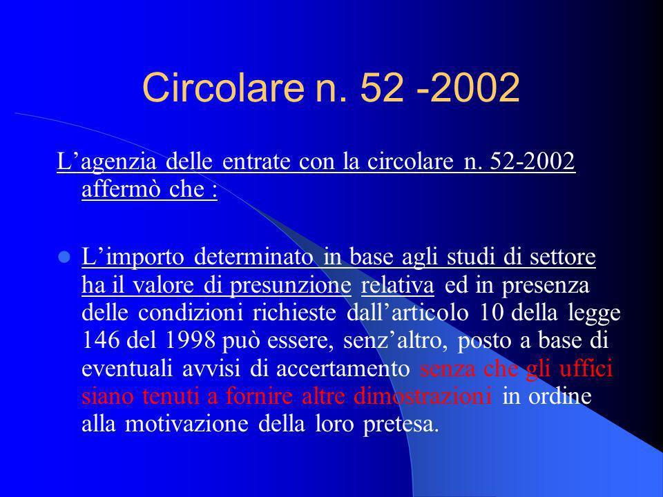 Circolare n. 52 -2002 Lagenzia delle entrate con la circolare n. 52-2002 affermò che : Limporto determinato in base agli studi di settore ha il valore