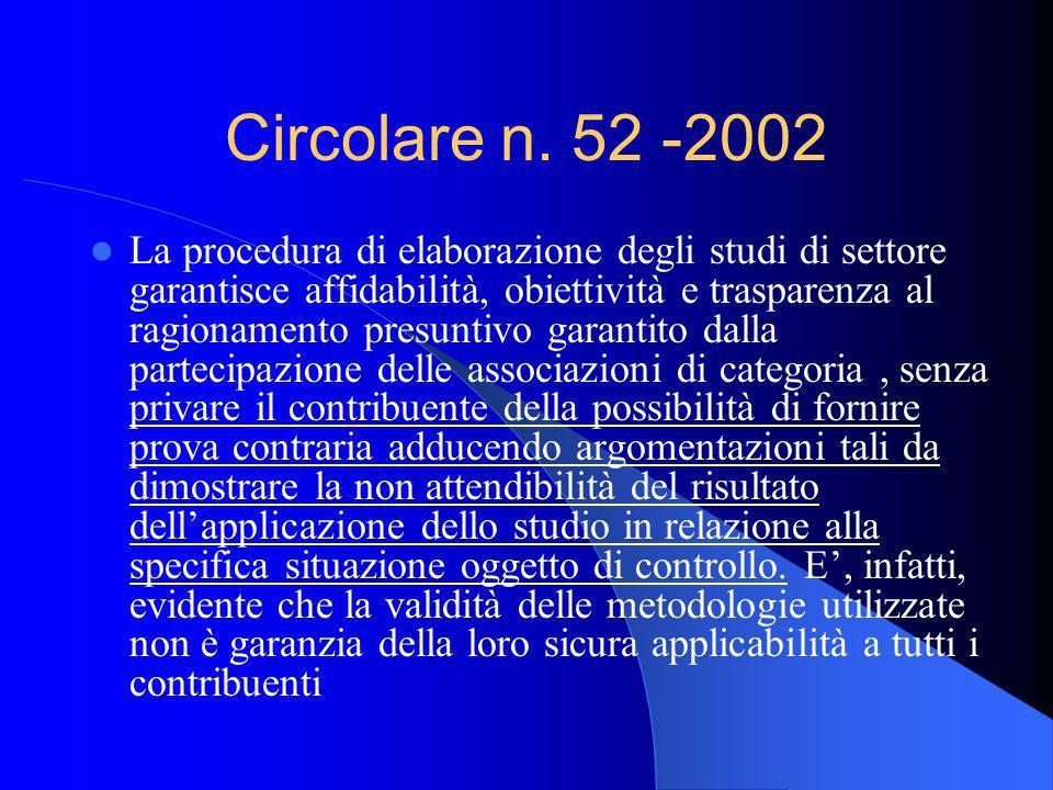 Circolare n. 52 -2002 La procedura di elaborazione degli studi di settore garantisce affidabilità, obiettività e trasparenza al ragionamento presuntiv
