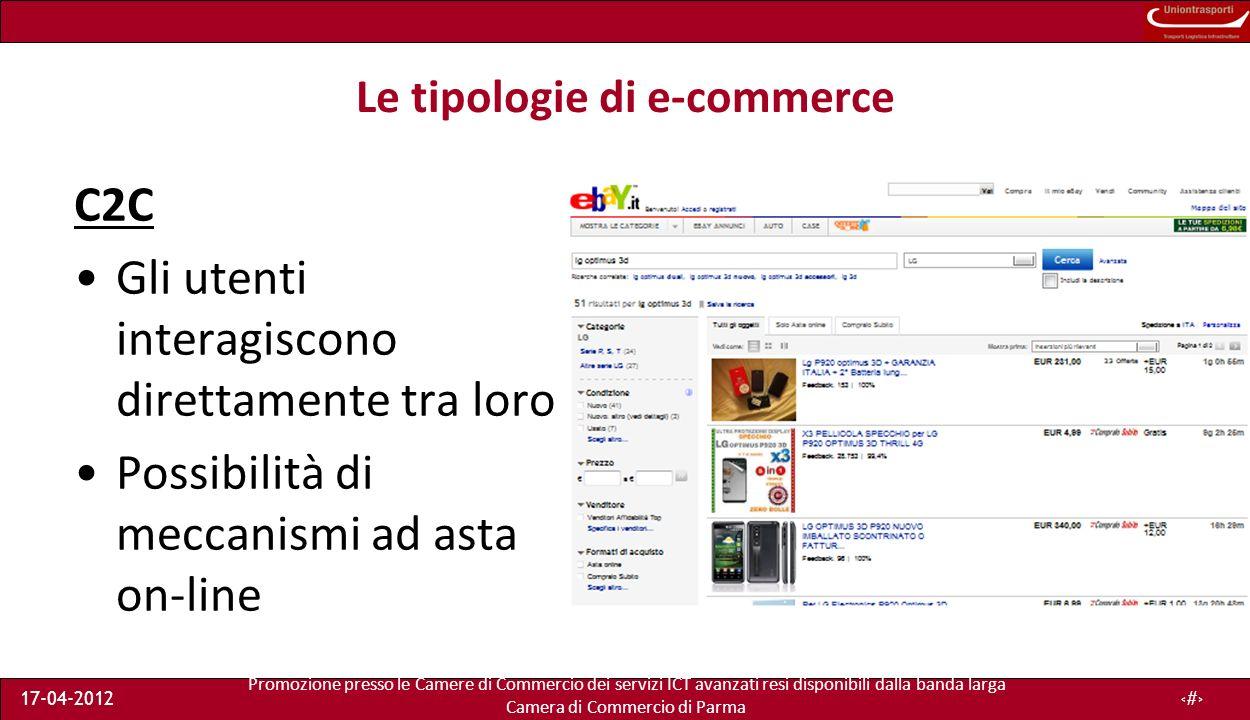 Promozione presso le Camere di Commercio dei servizi ICT avanzati resi disponibili dalla banda larga Camera di Commercio di Parma 17-04-201210 Le tipologie di e-commerce C2C Gli utenti interagiscono direttamente tra loro Possibilità di meccanismi ad asta on-line