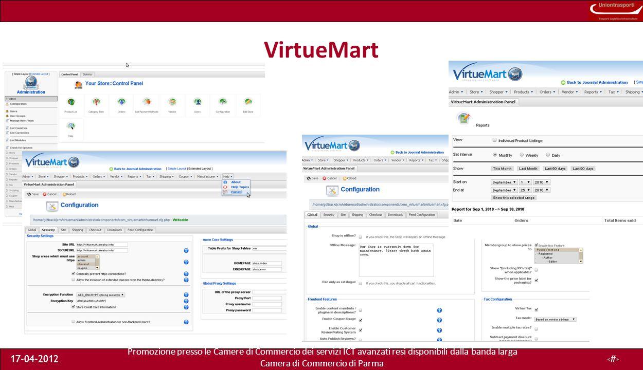 Promozione presso le Camere di Commercio dei servizi ICT avanzati resi disponibili dalla banda larga Camera di Commercio di Parma 17-04-201215 VirtueMart