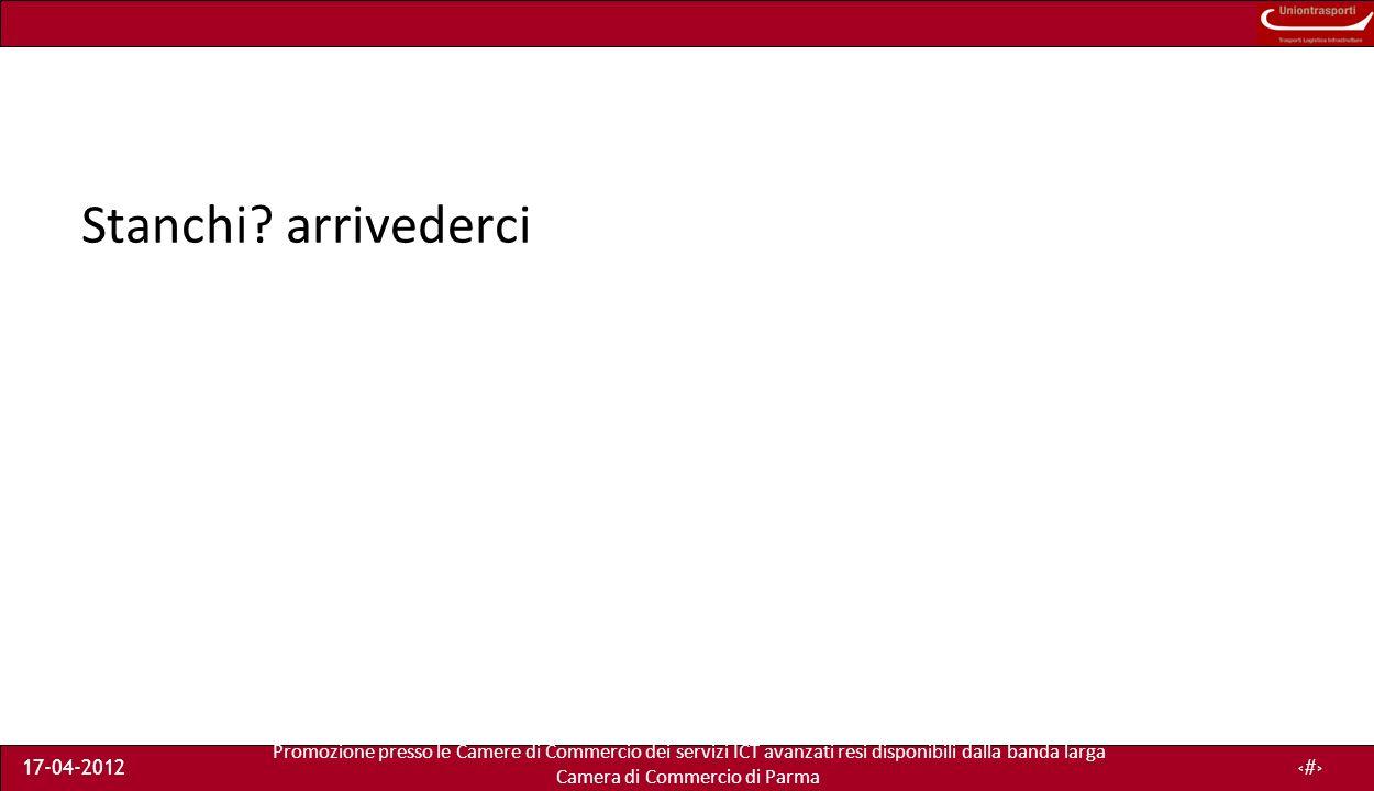 Promozione presso le Camere di Commercio dei servizi ICT avanzati resi disponibili dalla banda larga Camera di Commercio di Parma 17-04-201227 Stanchi.