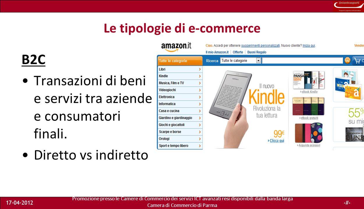 Promozione presso le Camere di Commercio dei servizi ICT avanzati resi disponibili dalla banda larga Camera di Commercio di Parma 17-04-20128 Le tipologie di e-commerce B2C Transazioni di beni e servizi tra aziende e consumatori finali.