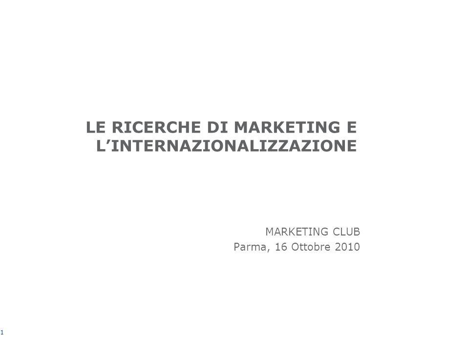 LE RICERCHE DI MARKETING E LINTERNAZIONALIZZAZIONE MARKETING CLUB Parma, 16 Ottobre 2010 1