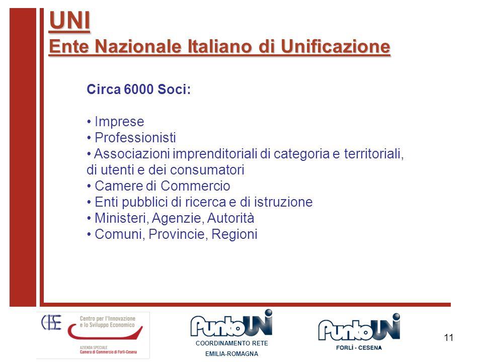 11 Circa 6000 Soci: Imprese Professionisti Associazioni imprenditoriali di categoria e territoriali, di utenti e dei consumatori Camere di Commercio E