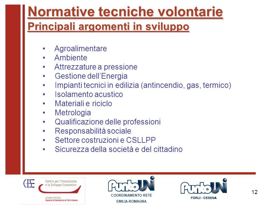 12 Normative tecniche volontarie Principali argomenti in sviluppo Agroalimentare Ambiente Attrezzature a pressione Gestione dellEnergia Impianti tecni