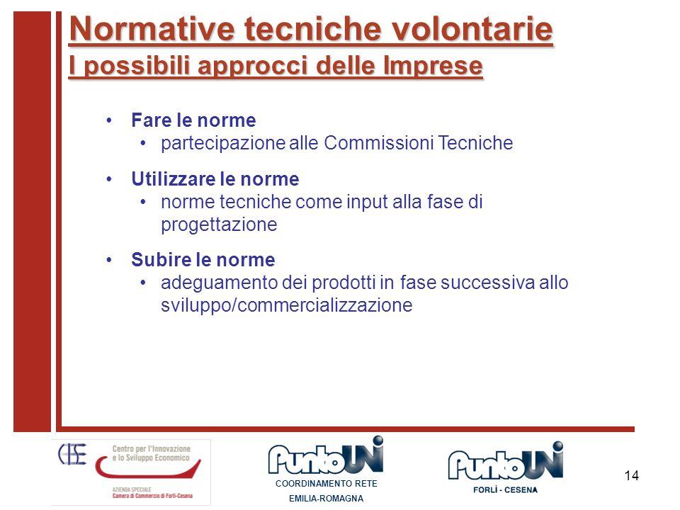 14 Normative tecniche volontarie I possibili approcci delle Imprese Fare le norme partecipazione alle Commissioni Tecniche Utilizzare le norme norme t