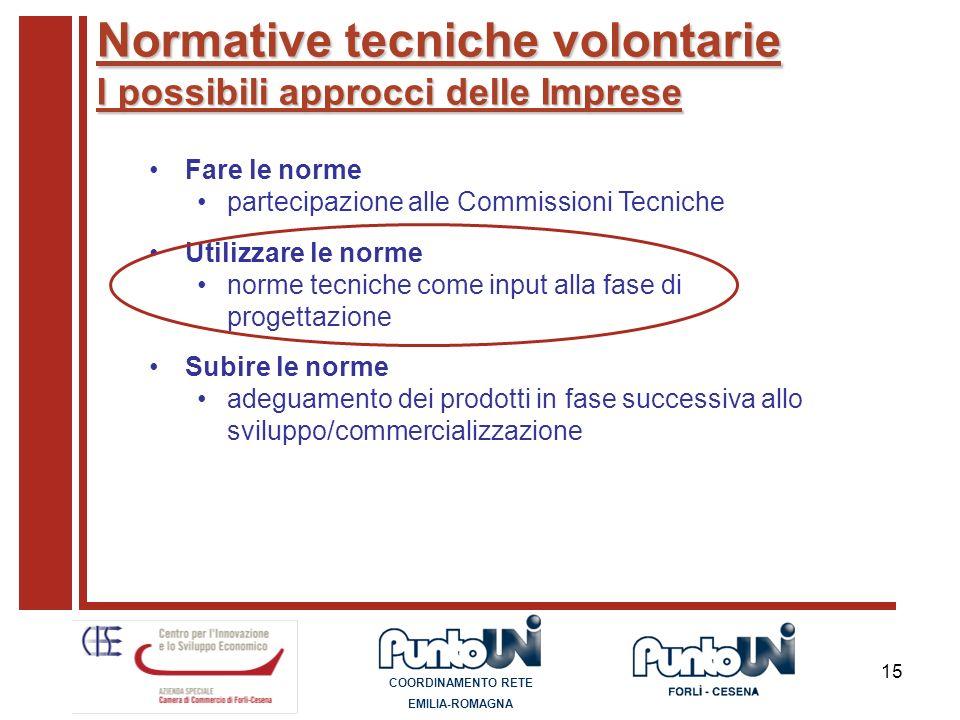 15 Normative tecniche volontarie I possibili approcci delle Imprese Fare le norme partecipazione alle Commissioni Tecniche Utilizzare le norme norme t