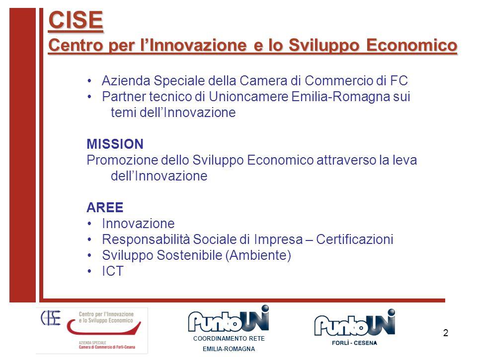 2 CISE Centro per lInnovazione e lo Sviluppo Economico Azienda Speciale della Camera di Commercio di FC Partner tecnico di Unioncamere Emilia-Romagna