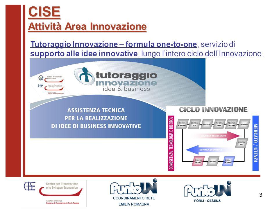 3 CISE Attività Area Innovazione Tutoraggio Innovazione – formula one-to-one, servizio di supporto alle idee innovative, lungo lintero ciclo dellInnov