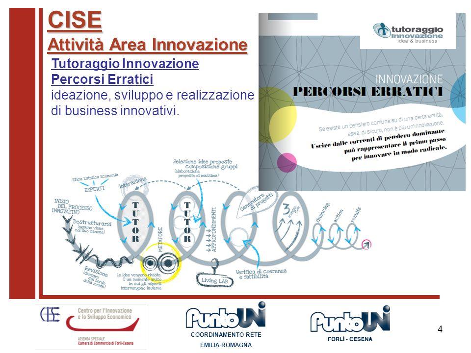 4 CISE Attività Area Innovazione Tutoraggio Innovazione Percorsi Erratici ideazione, sviluppo e realizzazione di business innovativi. COORDINAMENTO RE
