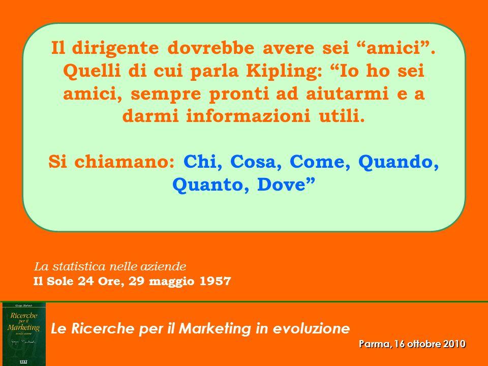 Le Ricerche per il Marketing in evoluzione Parma, 16 ottobre 2010 Il dirigente dovrebbe avere sei amici. Quelli di cui parla Kipling: Io ho sei amici,