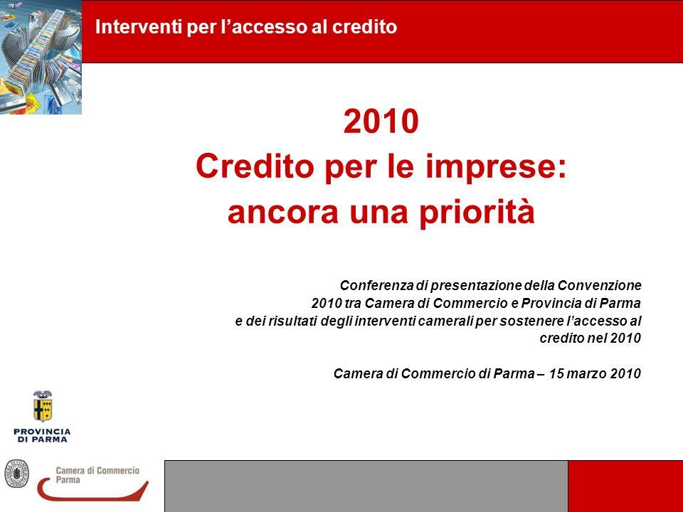 2010 Credito per le imprese: ancora una priorità Conferenza di presentazione della Convenzione 2010 tra Camera di Commercio e Provincia di Parma e dei