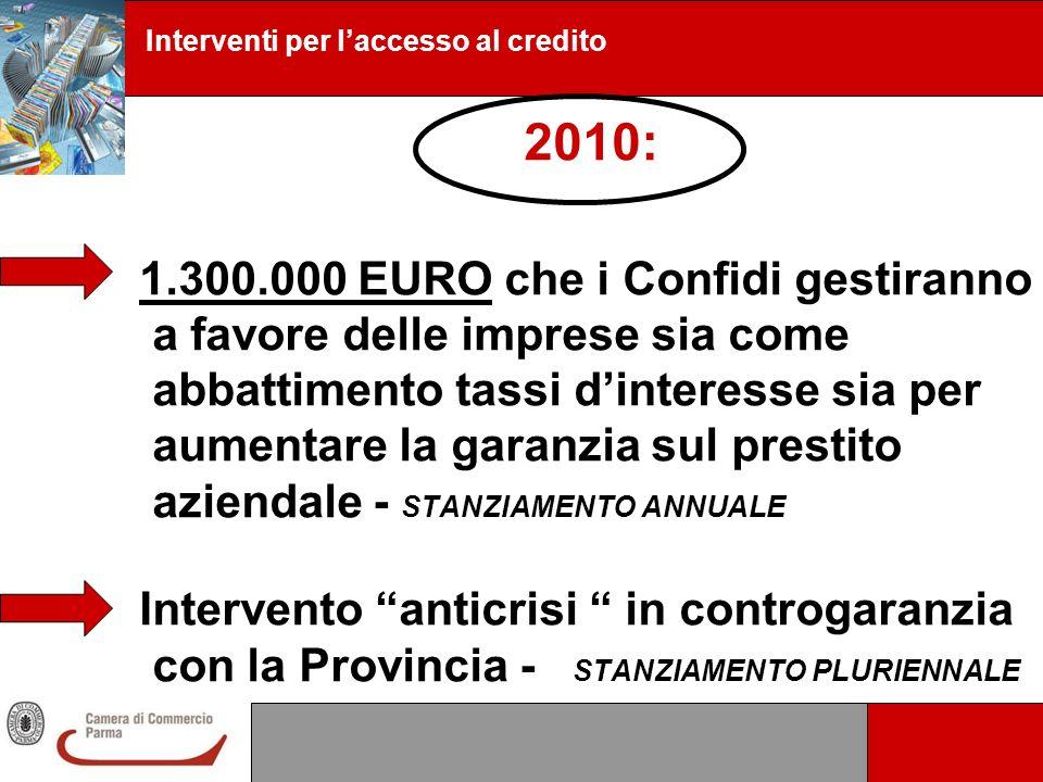 Interventi per laccesso al credito 2010: 1.300.000 EURO che i Confidi gestiranno a favore delle imprese sia come abbattimento tassi dinteresse sia per