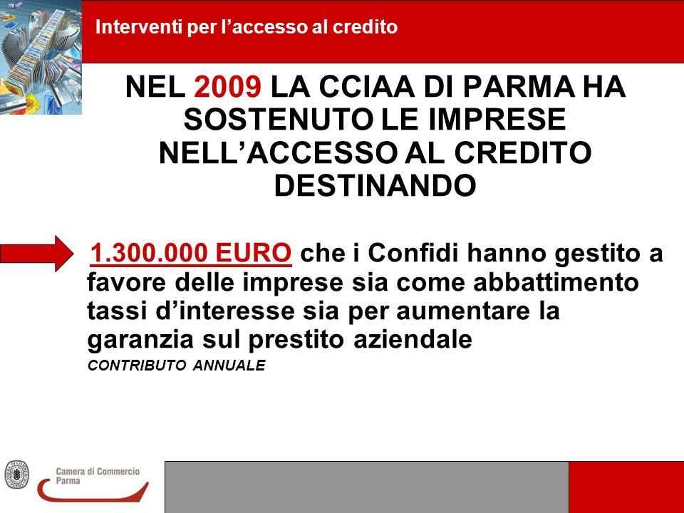 Interventi per laccesso al credito NEL 2009 LA CCIAA DI PARMA HA SOSTENUTO LE IMPRESE NELLACCESSO AL CREDITO DESTINANDO 1.300.000 EURO che i Confidi h