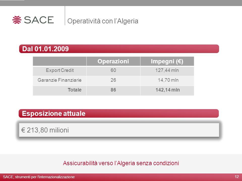 Operatività con lAlgeria 12 Assicurabilità verso lAlgeria senza condizioni Dal 01.01.2009 213,80 milioni Esposizione attuale SACE, strumenti per linte