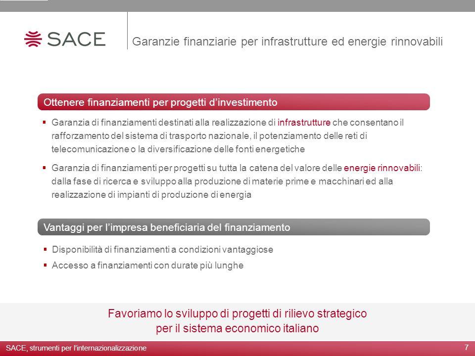 7 Garanzie finanziarie per infrastrutture ed energie rinnovabili Favoriamo lo sviluppo di progetti di rilievo strategico per il sistema economico ital