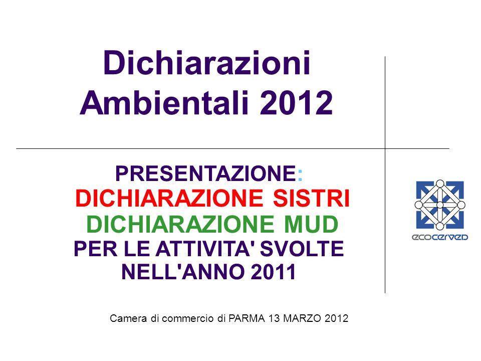 Camera di commercio di PARMA 13 MARZO 2012 Dichiarazioni Ambientali 2012 PRESENTAZIONE: DICHIARAZIONE SISTRI DICHIARAZIONE MUD PER LE ATTIVITA SVOLTE NELL ANNO 2011
